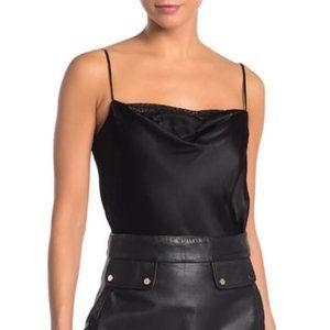Socialite BNWOT black satin bodysuit sz Large